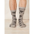 Bamboo socks Moustache & Bow Tie (light grey)